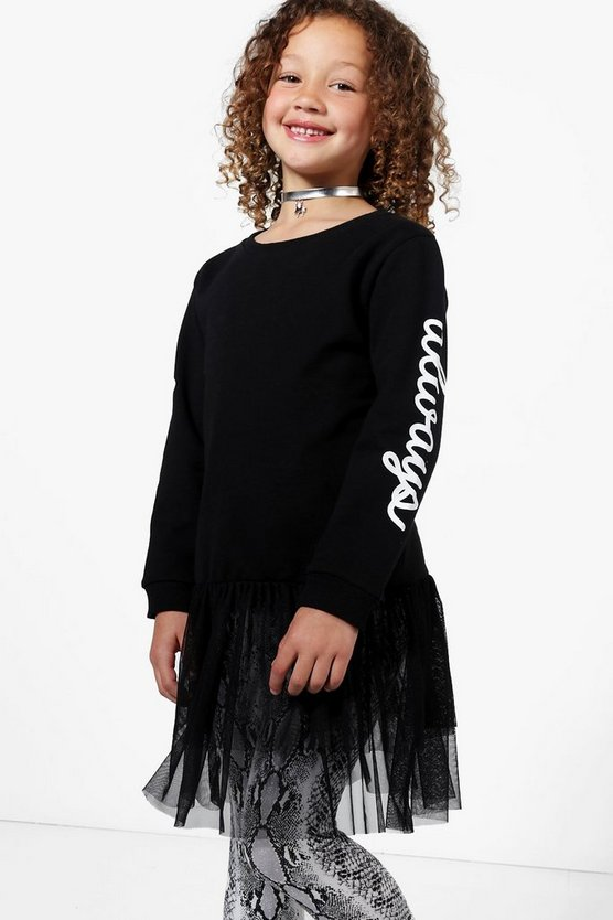 Girls Mesh Hem Print Sweat Top