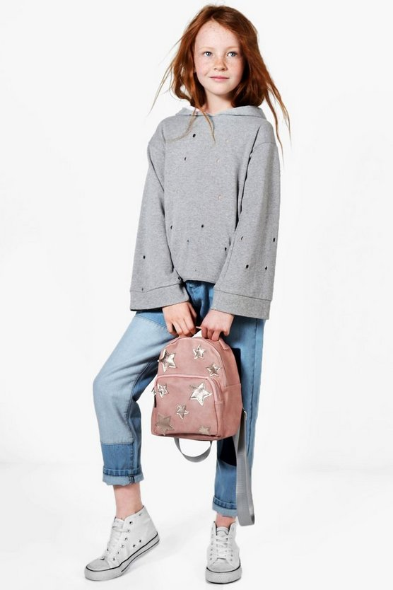 Girls Distressed Hooded Sweat Top