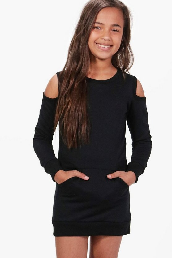 Girls Cold Shoulder Pocket Detail Dress