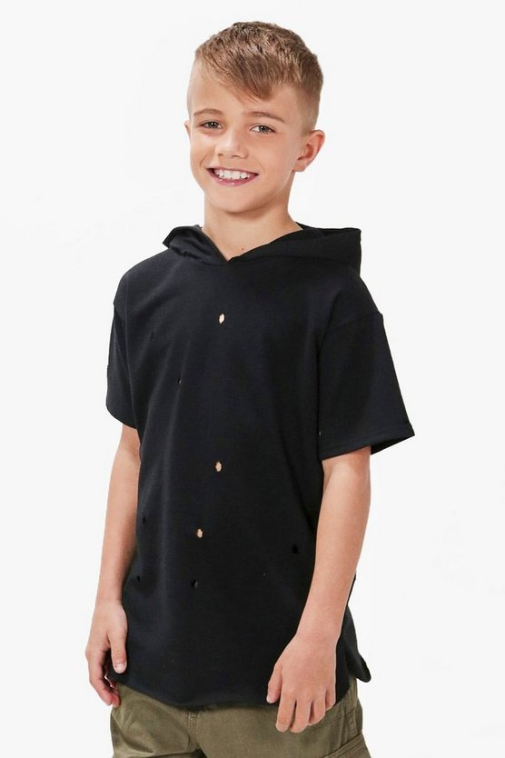 Boys Distressed Long Line Hooded Top