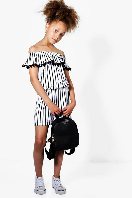Girls Stripe Bardot Playsuit