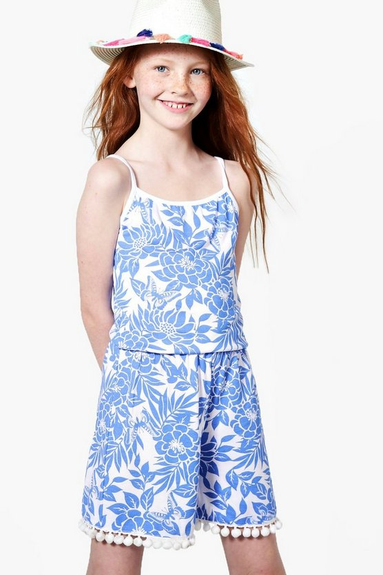 Girls Floral Pom Hem Playsuit