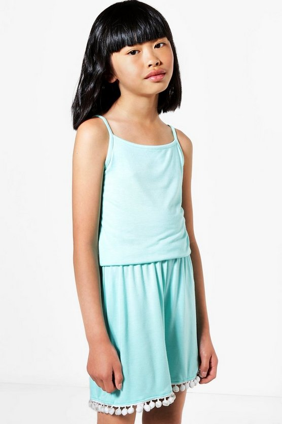 Girls Pom Pom Hem Plain Playsuit