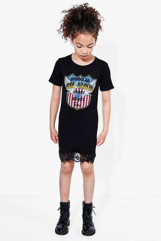 Girls Free Eagles Lace Hem Dress