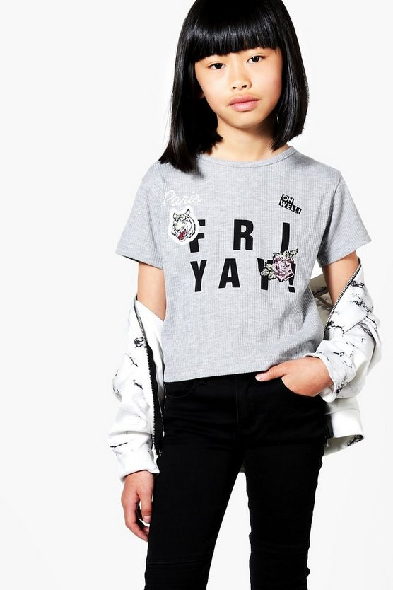 Girls Ribbed Badge Tee