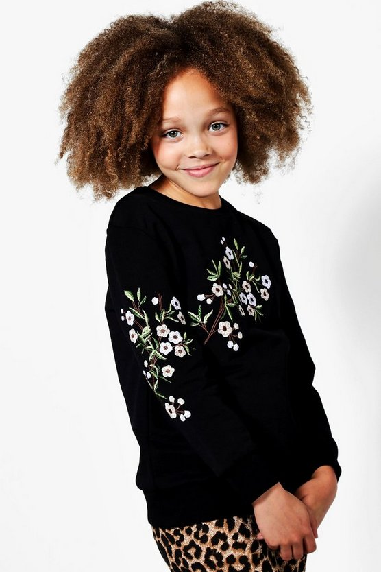 Girls Crew Neck Embroidered Sleeve Sweat Top