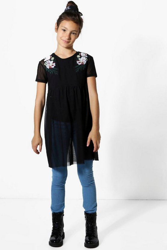 Girls Floral Embroidered Mesh Top