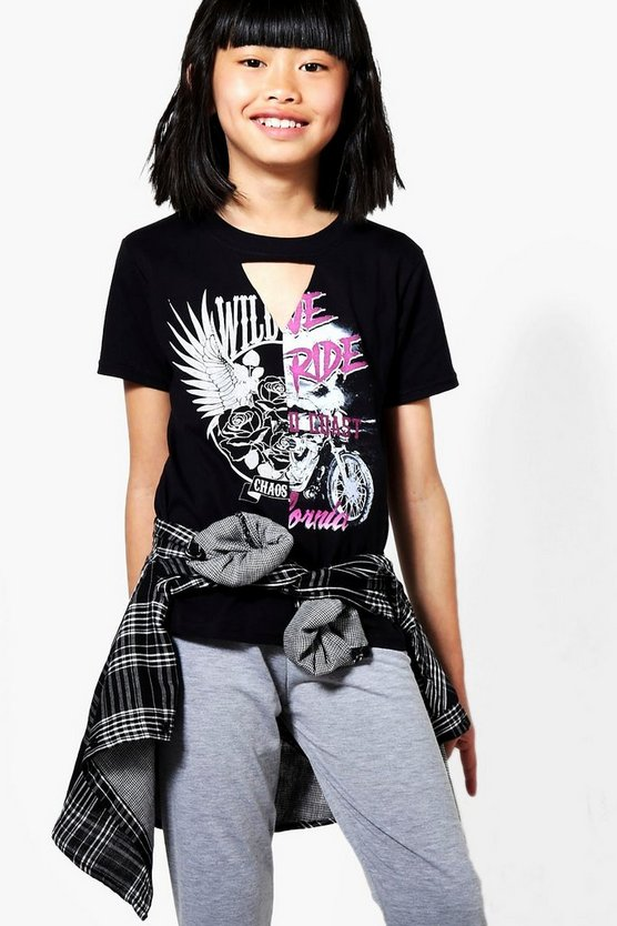 Girls Band Spliced Tee