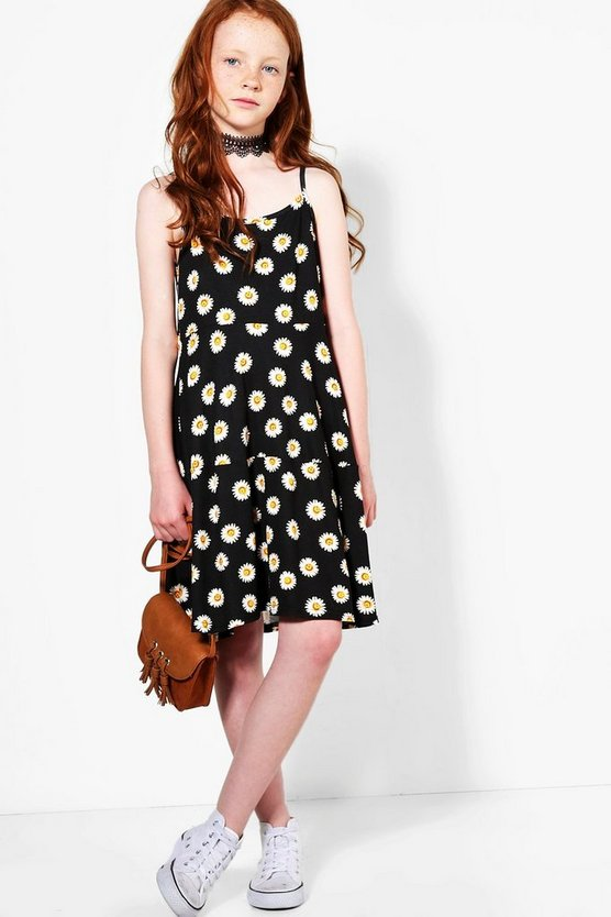 Girls Daisy Print Strappy Swing Dress