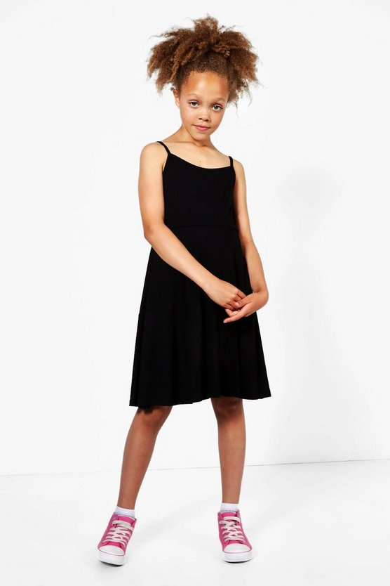 Girls Plain Tiered Strappy Swing Dress