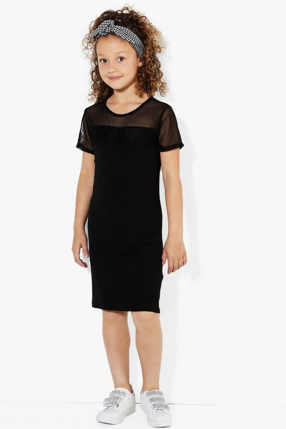 Girls Mesh Lace T-Shirt Dress