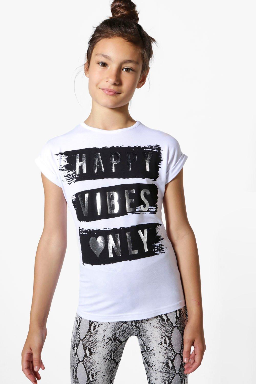 Boohoo-Camiseta-034-happy-Vibes-Only-034-Para-Nina-para-Mujer