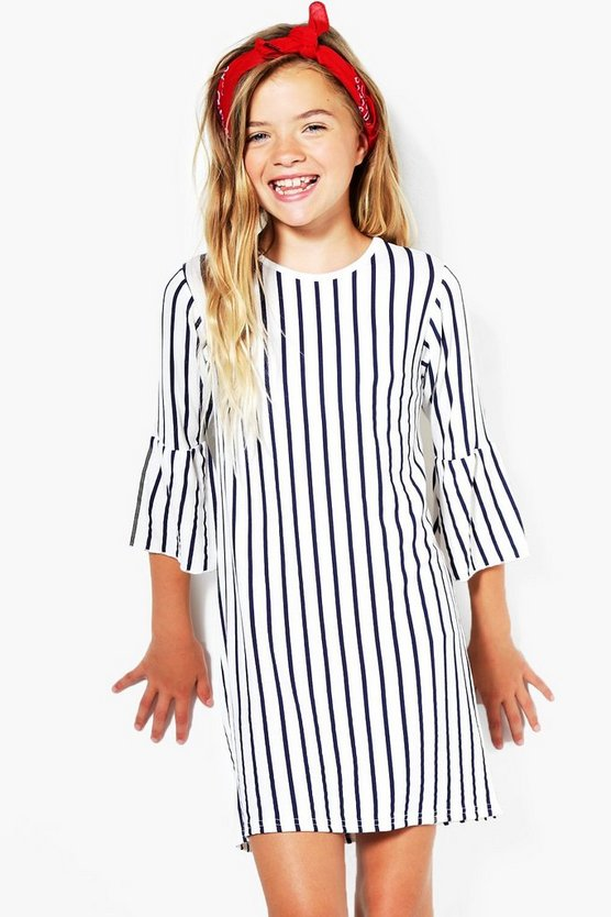 Girls Stripe Flute Sleeve Dress