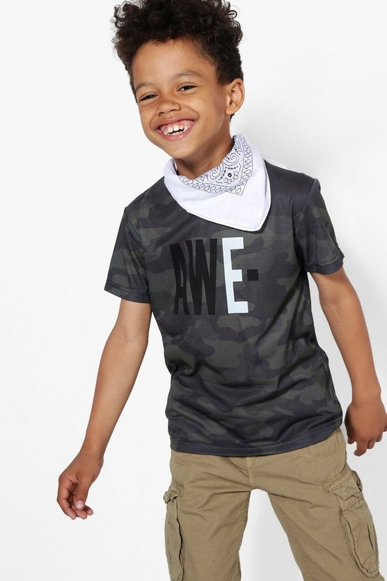 Boys Awesome Camo Print Tee