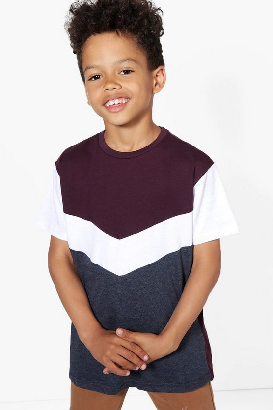 Boys Spliced Colour Block Tee