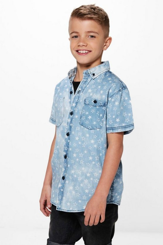 Boys Star Distressed Denim Shirt