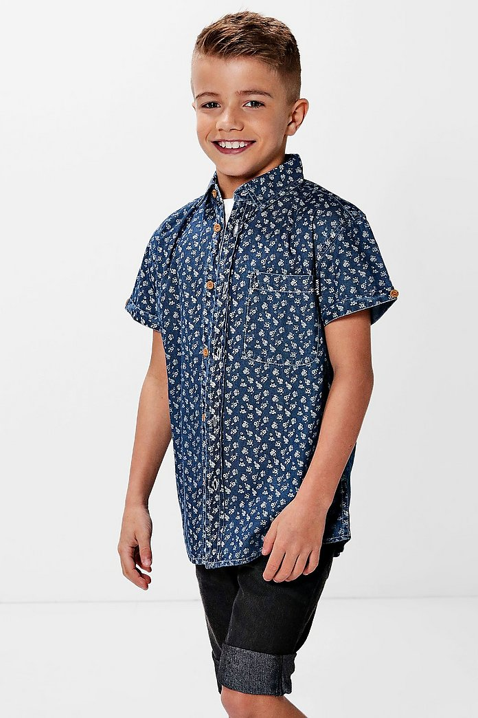 Boys Floral Denim Shirt