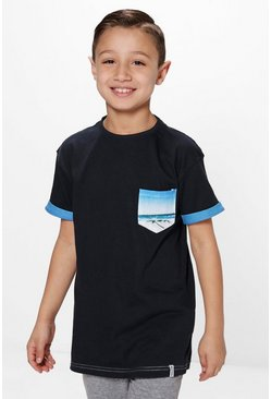 Boys Printed Pocket T-Shirt