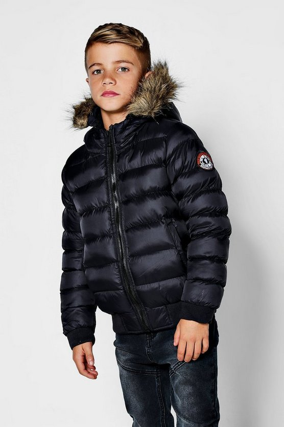 Boys Padded Short Faux FurJacket
