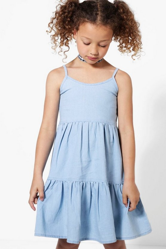 Girls Tiered Denim Sundress