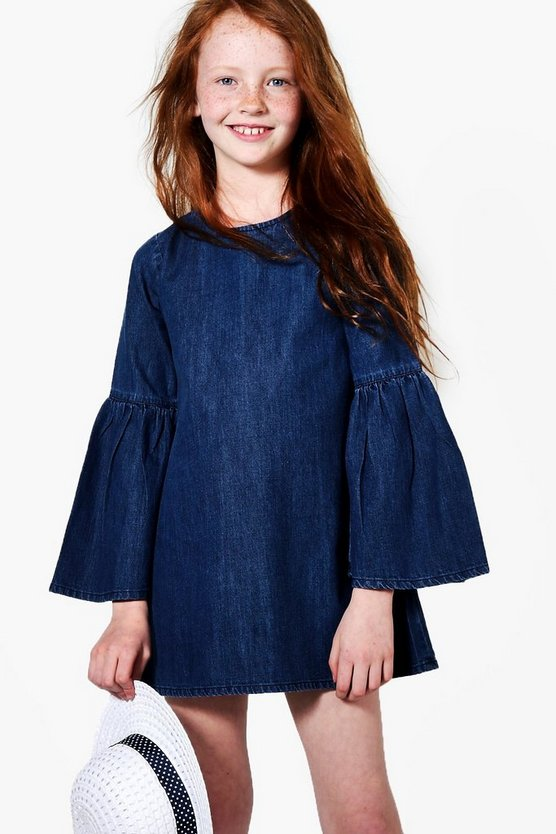 Girls Flute Sleeve Denim Dress