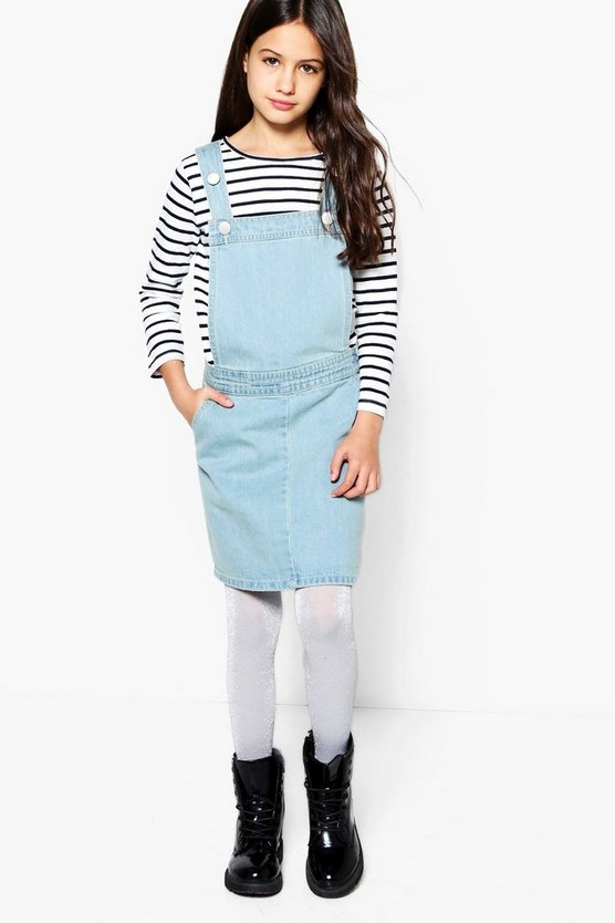 Girls Lightwash Pinafore Denim Dress