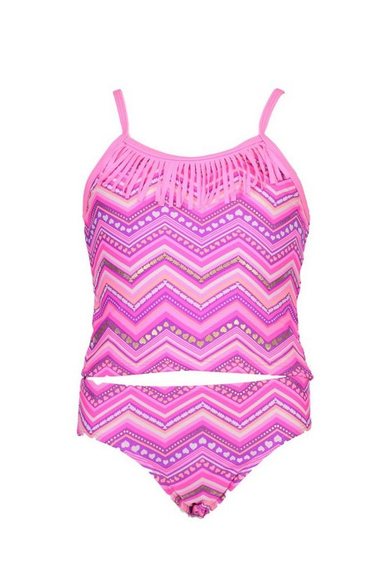 Girls Heart Fringed Tankini Set