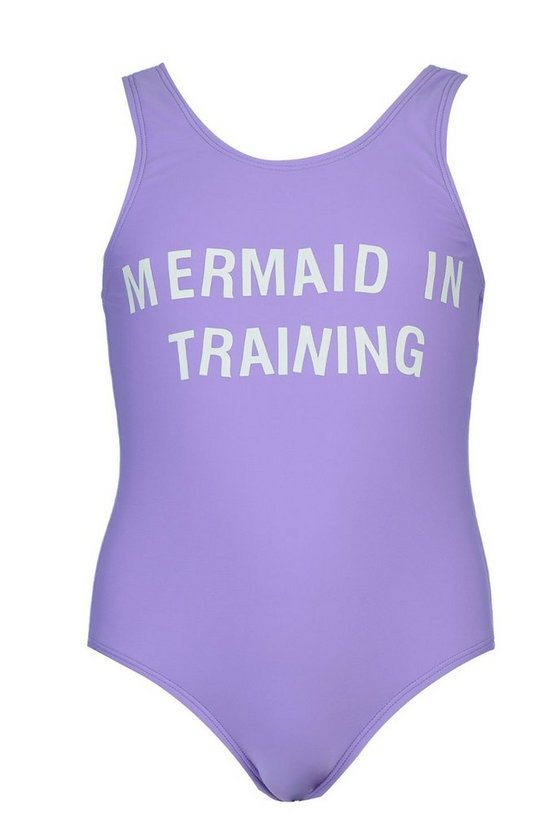 Girls Mermaid In Training Slogan Swimsuit
