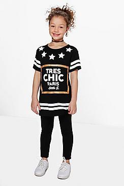 set bambina con T-shirt con scritta tres chic