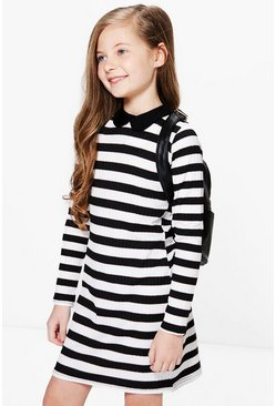 Girls Striped Collar Dress
