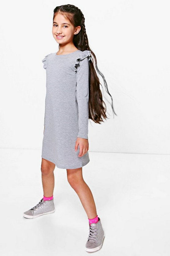 Girls Frill Sleeve Swing Dress