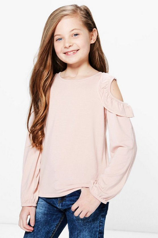 Girls Ruffle Shoulder Jersey Top