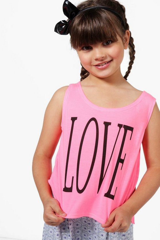 Girls Love Tie Side Vest Top