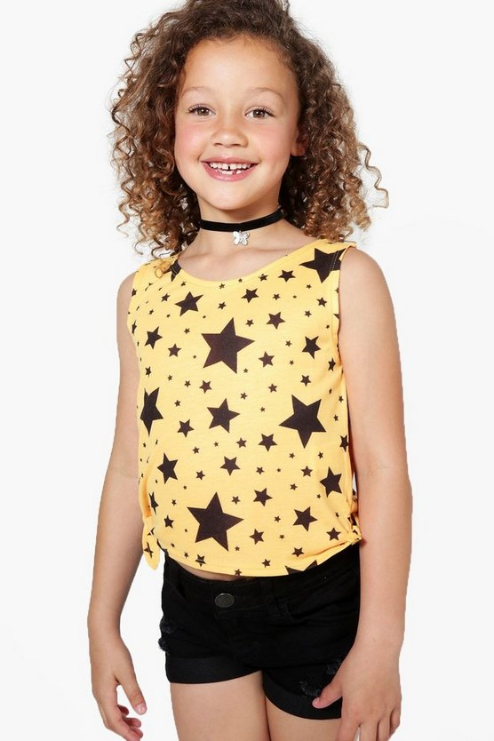 Girls Star All Over Print Tie Side Vest
