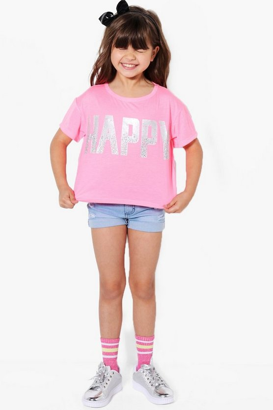 Girls Happy Diamante Tee