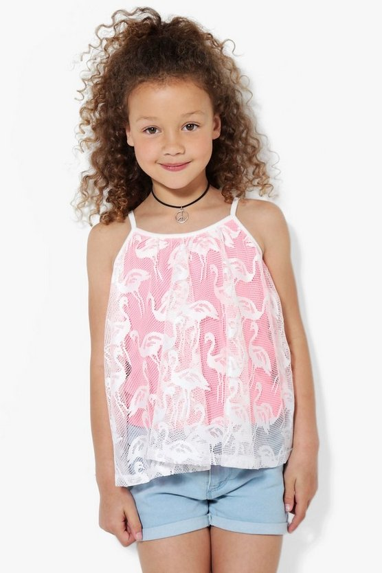 Girls Flamingo Lace Swing Vest