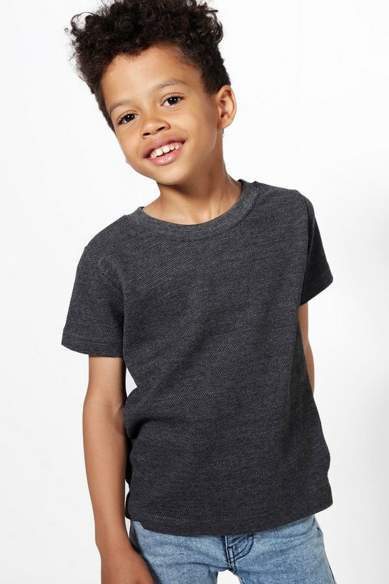 Boys Textured Short Sleeve Sweat Top
