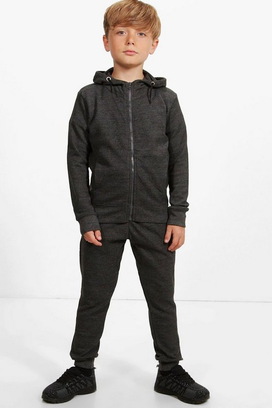Boys Textured Hooded Zip Through Jogger Set