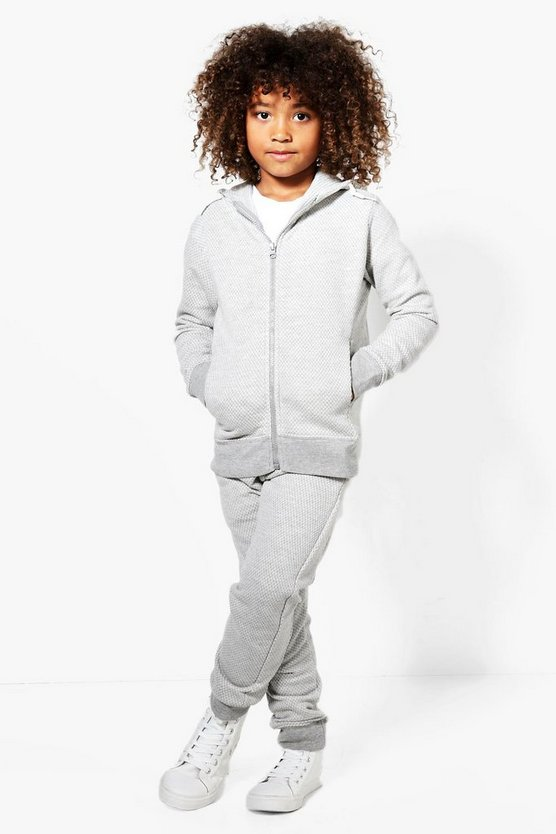 Boys Skinny Fit Textured Tracksuit