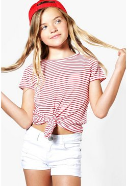 Girls Rib Knot Front Tie T-Shirt