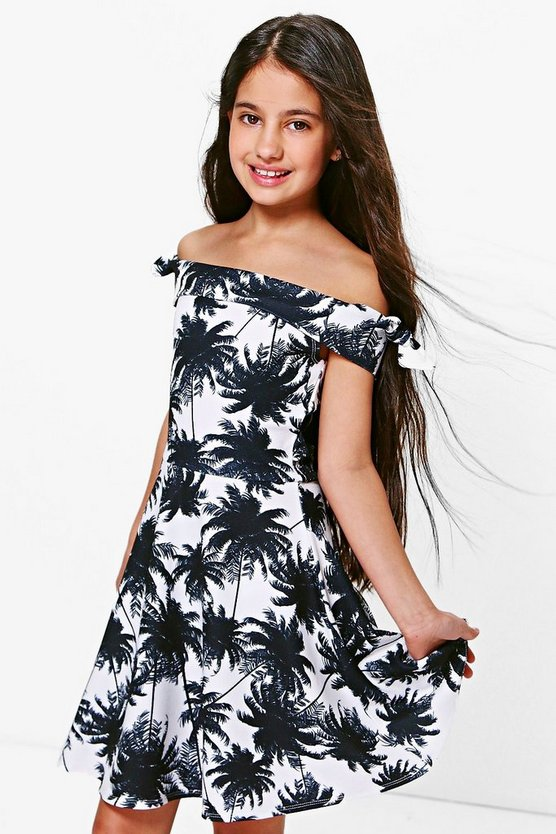 Girls Palm Print Bardot Skater Dress