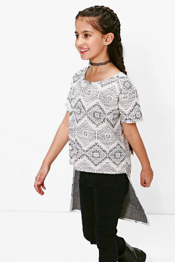 Girls Aztec Print Step Hem T-Shirt
