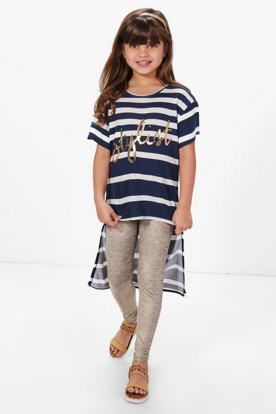 Girls Stripe Stylist Step Hem Top