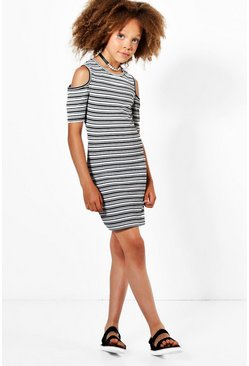 Girls Stripe Cold Shoulder Dress