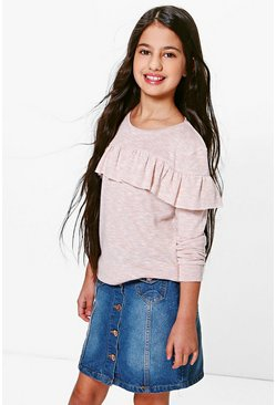 Girls Frill Layered Knit Top