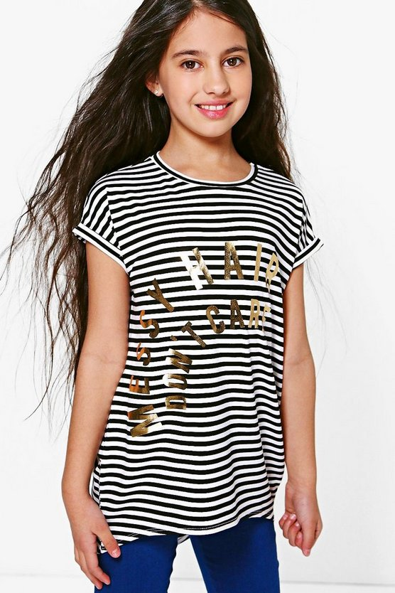 Girls Messy Hair Don't Care Tee