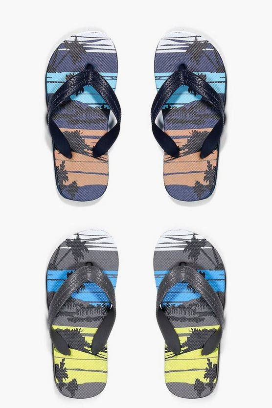 Boys Palm Print Two Pack Flip Flop