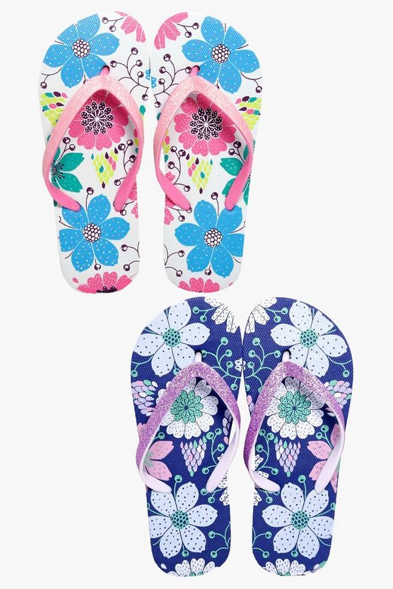 Girls Floral Two Pack Flip Flop