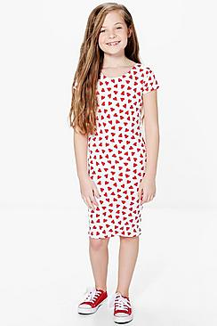 Girls All Over Print Heart Midi Dress