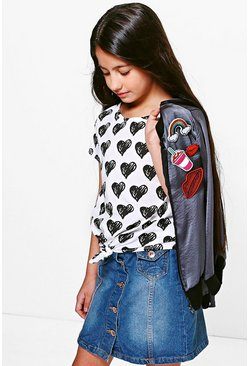 Girls Heart Print Knot Tie Front T-Shirt